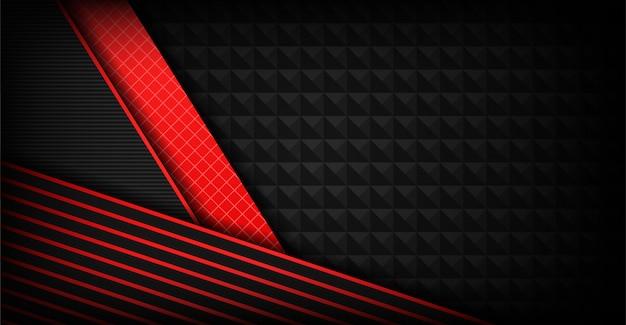 赤い図形と抽象的な暗い灰色の背景の重複 Premiumベクター