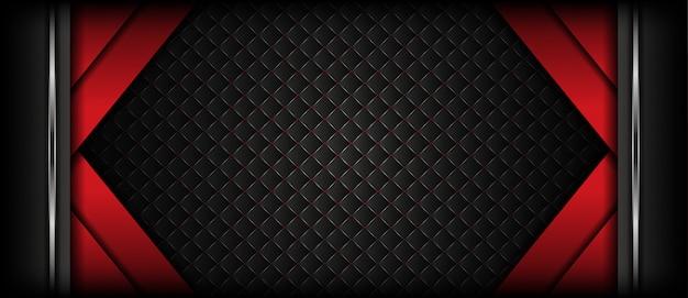 シルバーの質感と豪華な暗い赤いバナーの背景 Premiumベクター
