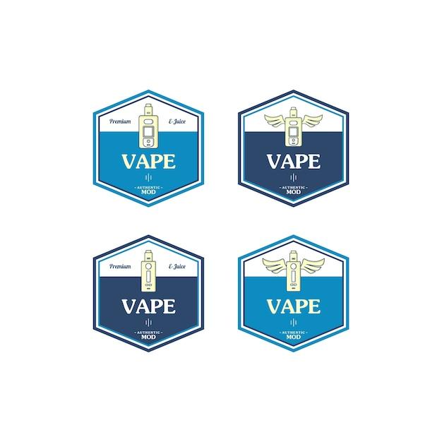 電気タバコパーソナル気化器電子タバコレトロラベルバッジ Premiumベクター