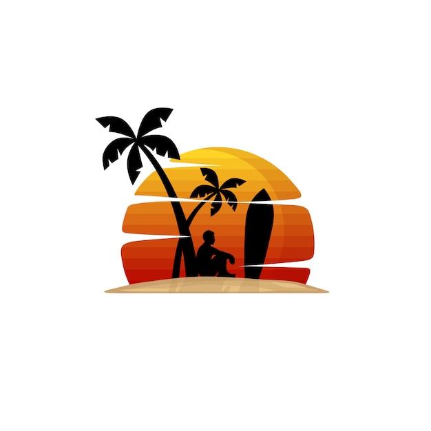 ビーチのサーファーはヤシの木の下に座っています Premiumベクター