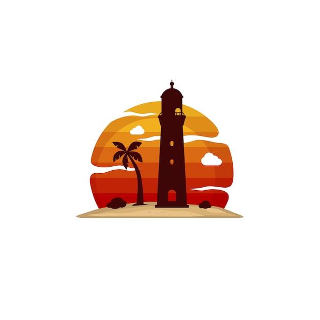 灯台のビーチ島の眺めベクトルアート Premiumベクター