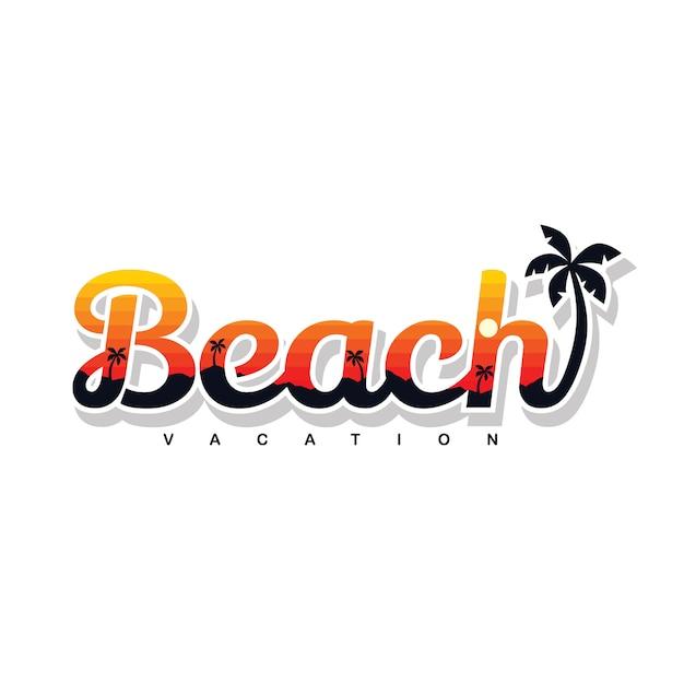 夏の休日ビーチサインシンボルベクトルアート Premiumベクター