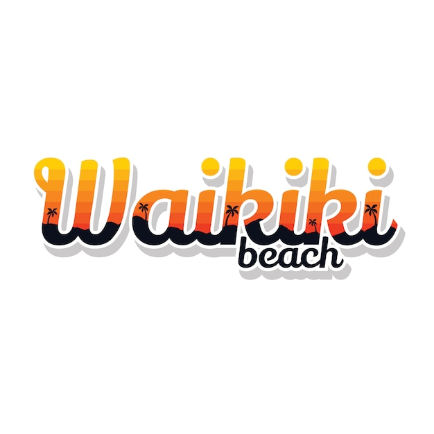 夏休みワイキキビーチサインシンボルベクトルアート Premiumベクター