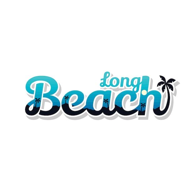 ロングビーチの夏の休日ビーチサインシンボルベクトルアート Premiumベクター