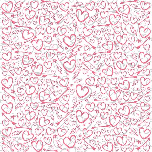 バレンタインデー落書きスケッチアートのベクトル Premiumベクター