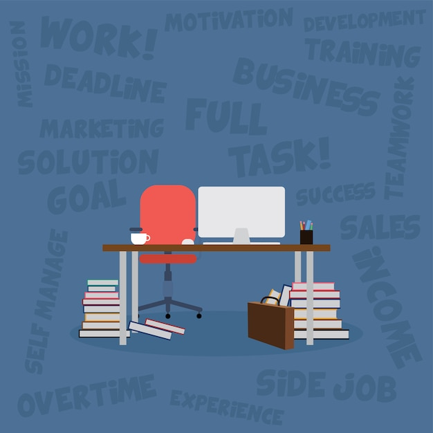 本とコンピューターのベクトルアートのオフィスデスク Premiumベクター