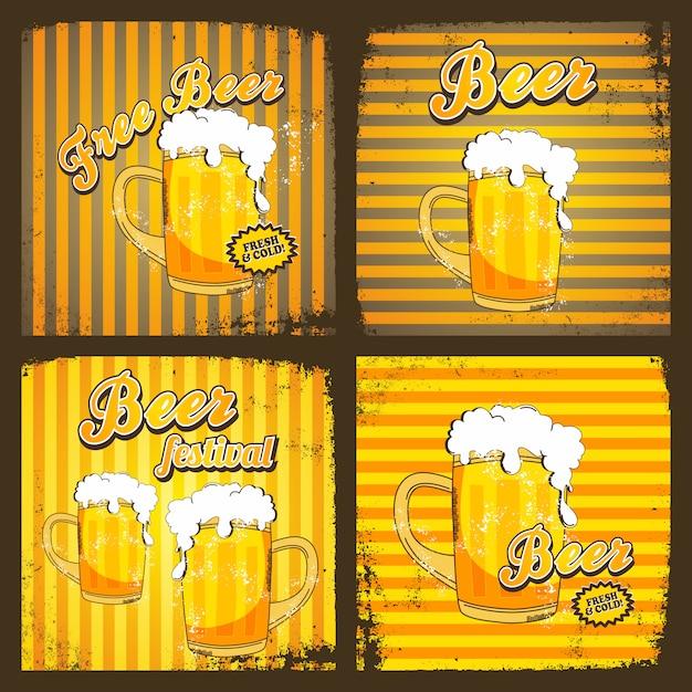 冷たいビールのテーマグラフィック Premiumベクター