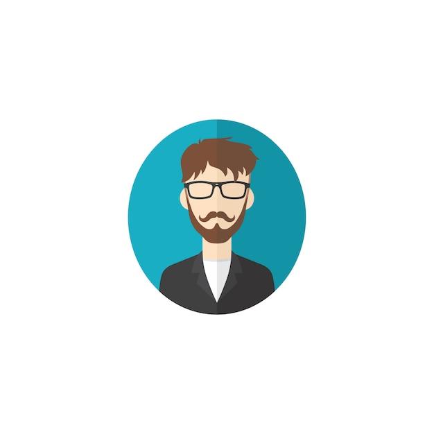 レトロな紳士アバターの肖像画プロフィール写真アイコン Premiumベクター