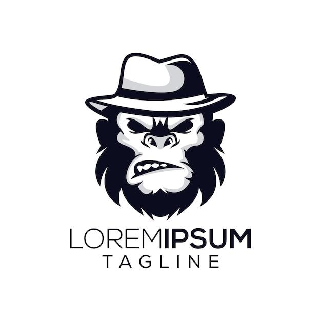 Логотип обезьяны бос Premium векторы