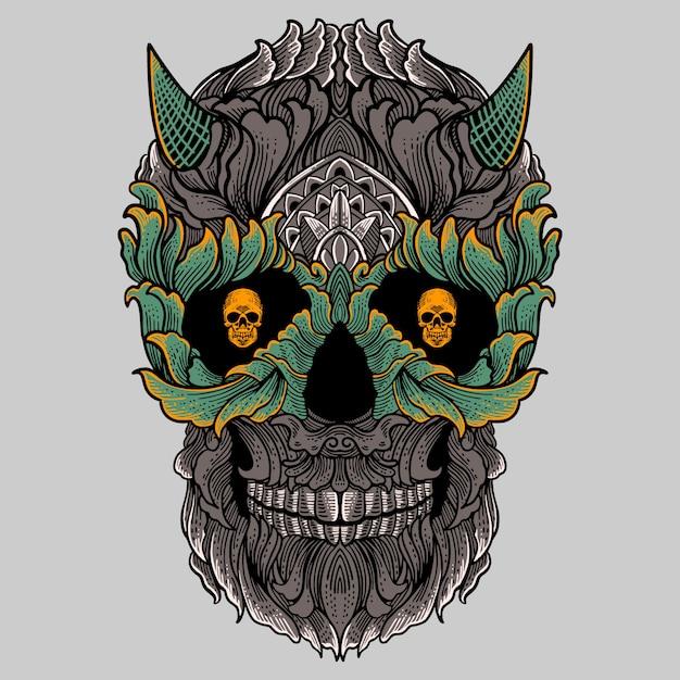 Цветочный орнамент череп с рисунком руки рога Premium векторы