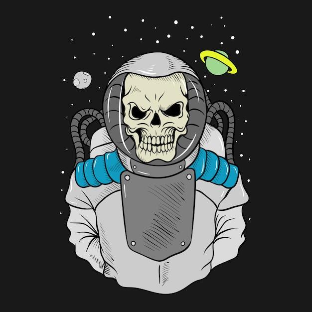 頭蓋骨の宇宙飛行士の手描き、簡単に編集できる分離 Premiumベクター