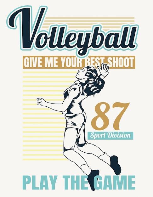 Волейбол в винтажном стиле Premium векторы