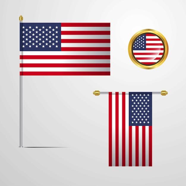 Флаг соединенных штатов америки Premium векторы