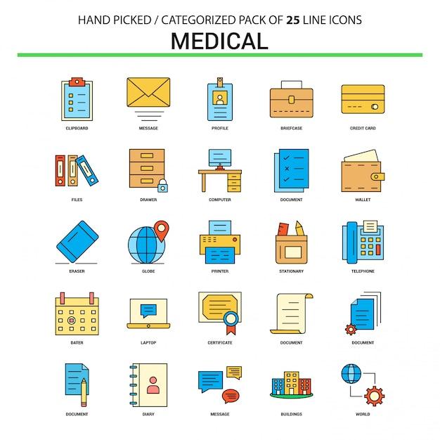 医療フラットラインアイコンセット - ビジネスコンセプトアイコンデザイン 無料ベクター