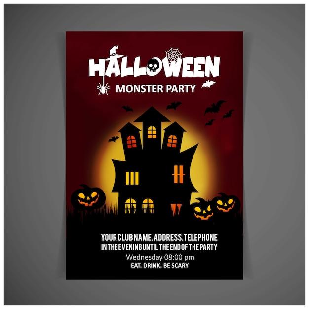ハロウィンパーティー招待状デザインカードベクトル Premiumベクター