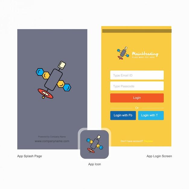 衛星ロゴとログインページのデザイン Premiumベクター