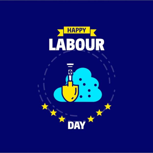 Счастливый день труда дизайн с синей и желтой темой вектор с логотипом песка Бесплатные векторы