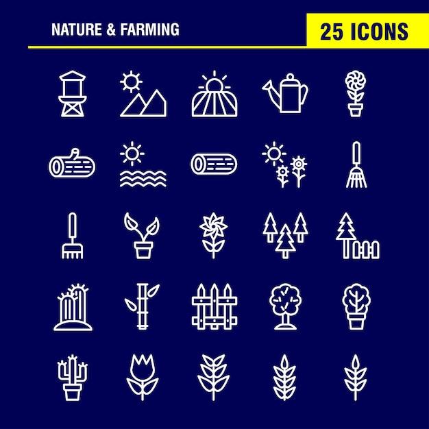 自然と農業ラインアイコンパック。納屋、建物、ドア、ファーム、農業、自然、円形、山 Premiumベクター