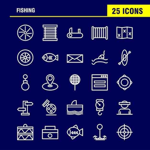 デザイナーや開発者のための釣り糸アイコンパック。 Premiumベクター