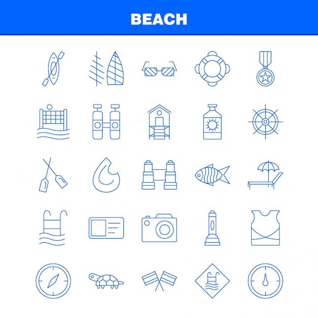 Значок линии пляжа Premium векторы