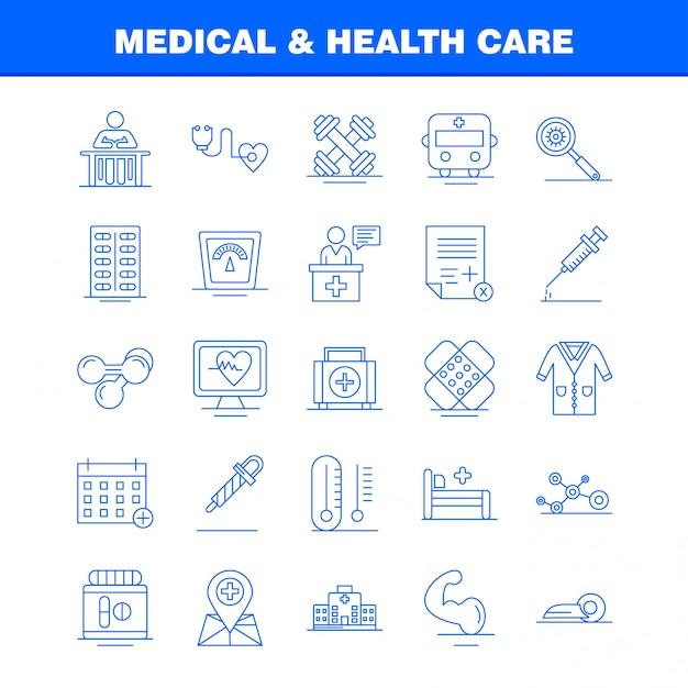 医療と健康管理ラインのアイコンを設定 無料ベクター
