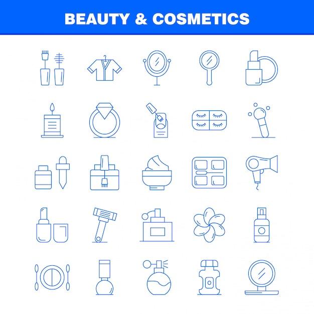 Набор иконок линии красоты и косметики Premium векторы