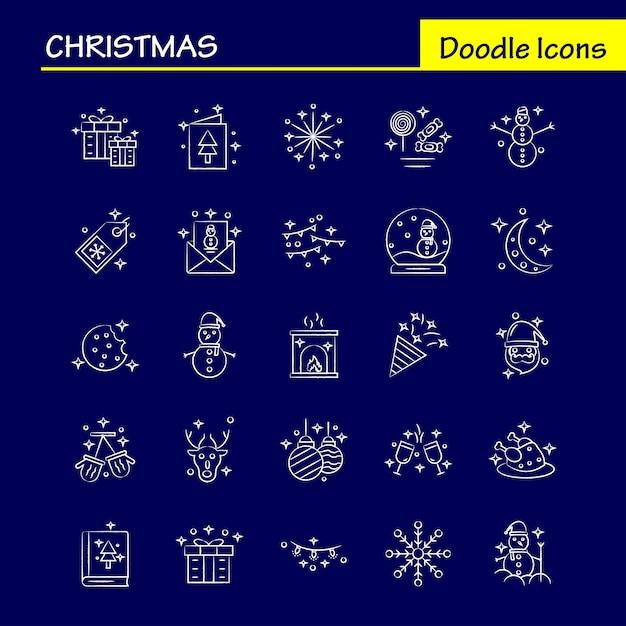 クリスマスの手描きアイコン Premiumベクター