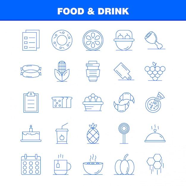 食べ物や飲み物の行アイコン Premiumベクター