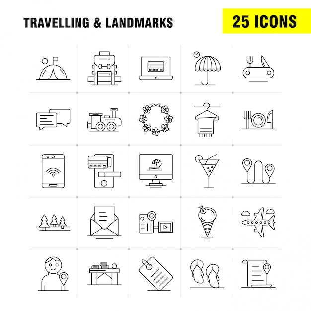 旅行とランドマークラインアイコン Premiumベクター
