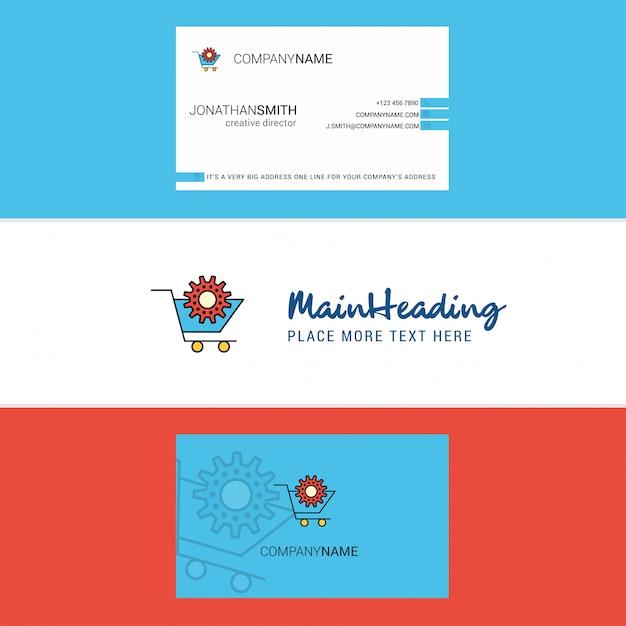Красивая корзина с логотипом и визиткой. вертикальный Premium векторы