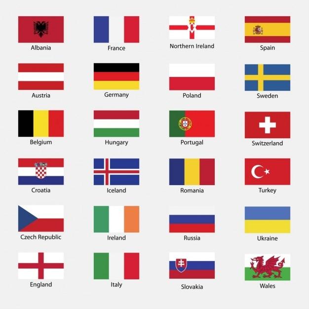 Все флаги страновые еврокубка Бесплатные векторы