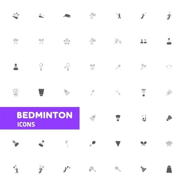 バドミントンのアイコンセット 無料ベクター