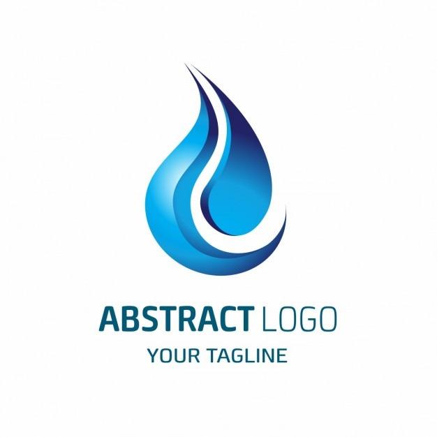 Шаблон вектор дизайн логотипа абстрактные синие капли воды Бесплатные векторы