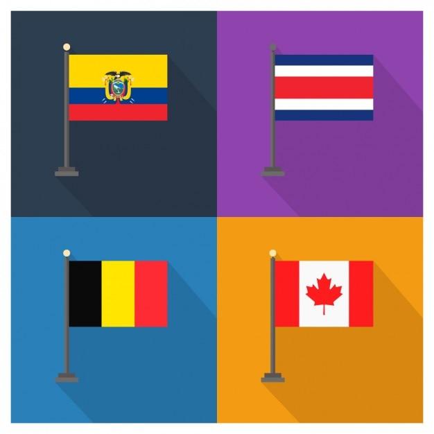 エクアドル、コスタリカ、ベルギー、カナダ国旗 無料ベクター