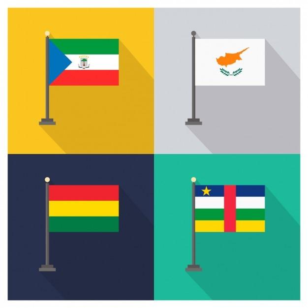 赤道ギニアキプロスボリビア、中央アフリカ共和国国旗 無料ベクター