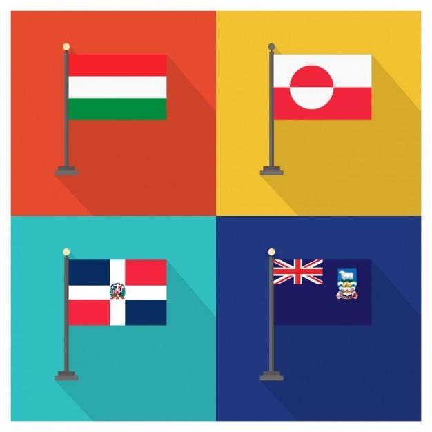 ハンガリーグリーンランドドミニカ共和国とフォークランド諸島の国旗 無料ベクター