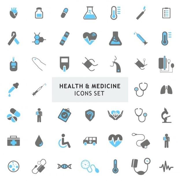 ブラーとグレーカラフルな保健医療のアイコンセット 無料ベクター