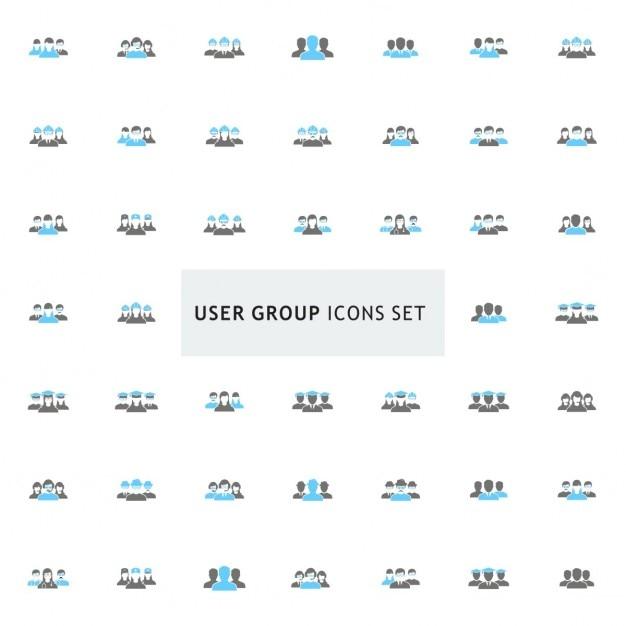 黒と青のユーザグループのアイコンが設定します 無料ベクター