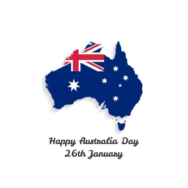 オーストラリアの日のための地図と白い背景 無料ベクター