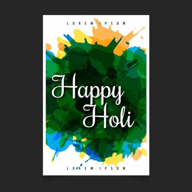 バナー、カード、ポスター、ポスターのための抽象的な緑の色のスプラッシュ水の色インドの祭りハッピーホーリーのお祝いの背景 無料ベクター