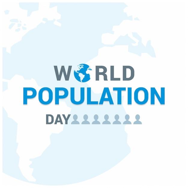 世界人口の日の文字 無料ベクター