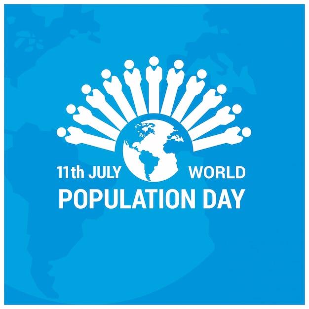世界人口の日の数字によるデザイン 無料ベクター