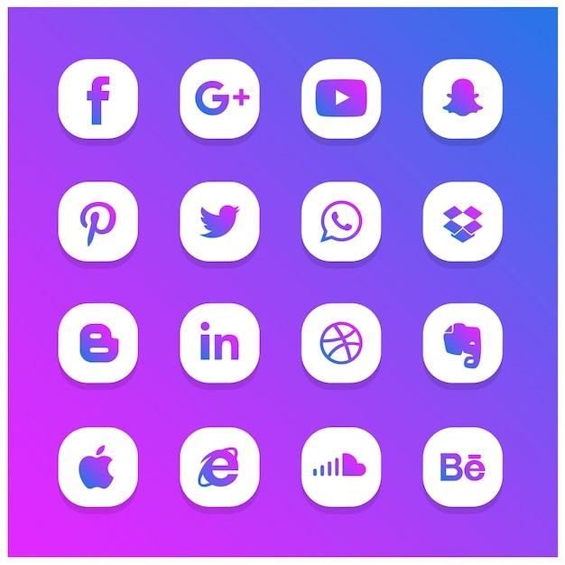 Синий и фиолетовый абстрактные сияющий набор социальных сетей Premium векторы