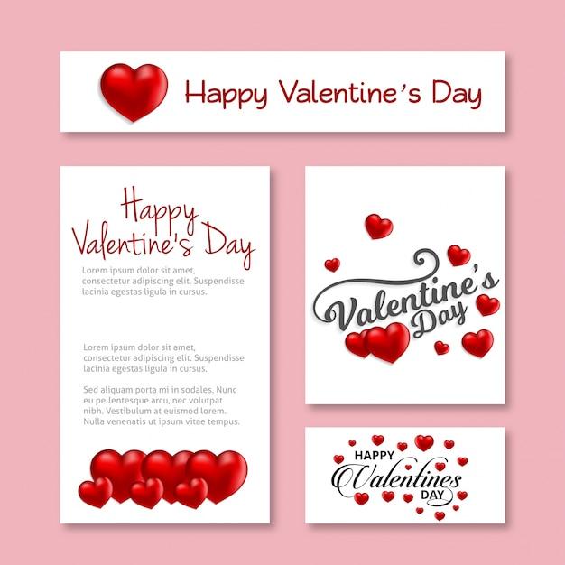 Счастливый день святого валентина карты с сердцем и розовый фон Premium векторы