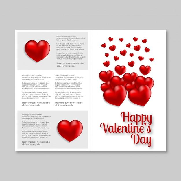 Счастливый день святого валентина карты с сердцем и светлый фон Premium векторы