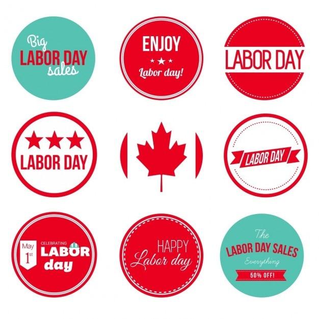 カナダの労働者の日グランジラベルとバッジ 無料ベクター
