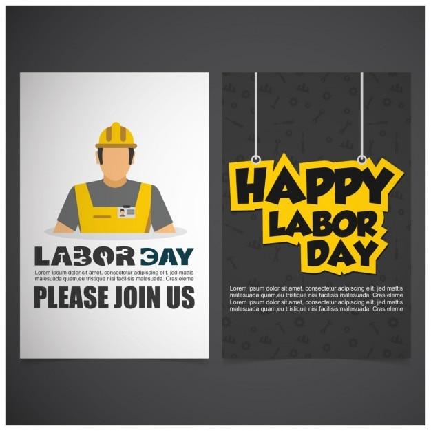 労働者の日のフロントバックパンフレット 無料ベクター