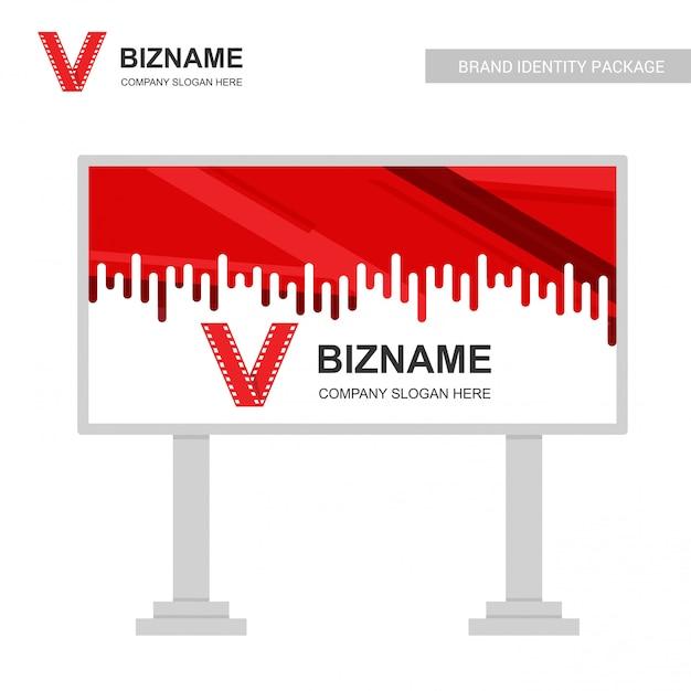 会社のビルボード広告は、ビデオロゴのデザインベクトル 無料ベクター