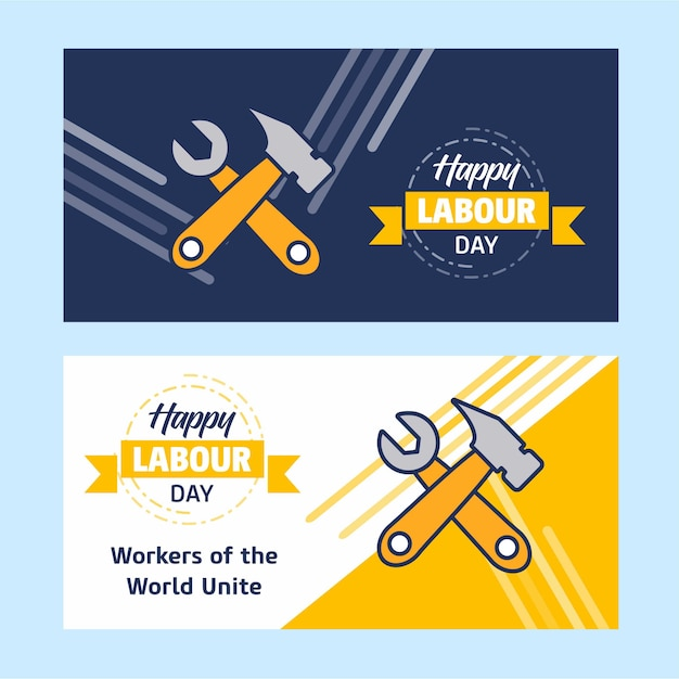 Счастливый рабочий день баннер Premium векторы