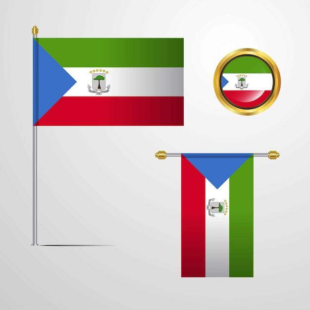 赤道ギニアは、バッジベクトルとフラグデザインを振る Premiumベクター